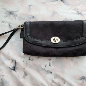 COACH Black Logo Fabric Large Wristlet Clutch